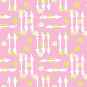 Dotty Arrows 452 (blush, key lime & white)