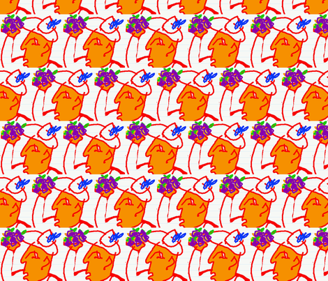 Man with a Blue Feather(white) fabric by krussimages on Spoonflower - custom fabric