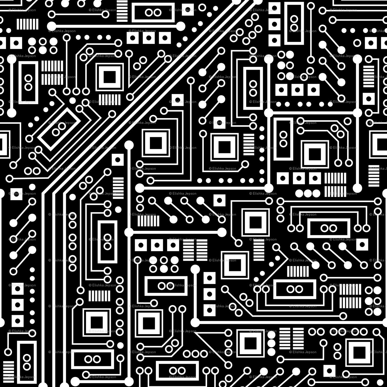 Robot Circuit Board Black And White Giftwrap Robyriker Spoonflower Simple 2 What Really Scared Me Back