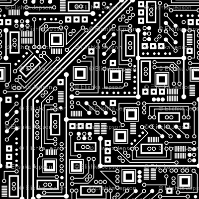 Robot Circuit Board (Black and White)