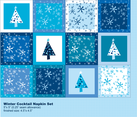 Winter Cocktail Napkin Set fabric by ruthevelyn on Spoonflower - custom fabric
