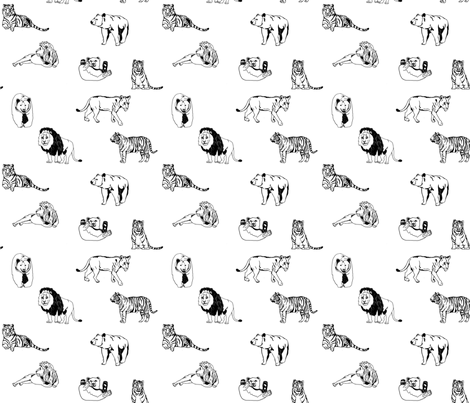 Lions, Tigers, and Bears fabric by sparklypony on Spoonflower - custom fabric