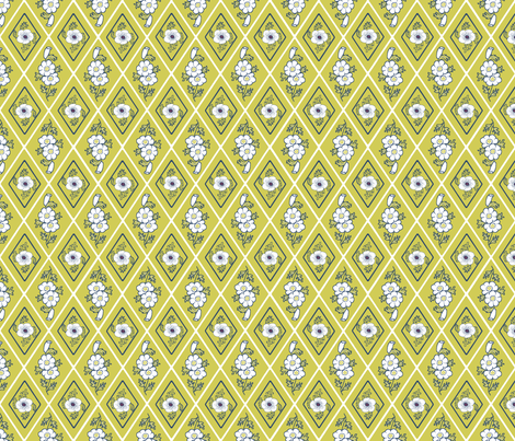 Diamonds_with_white_Anemones fabric by khowardquilts on Spoonflower - custom fabric
