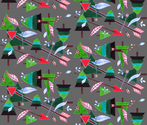 Evergreens & Arrows - dark grey fabric by painter13 on Spoonflower - custom fabric