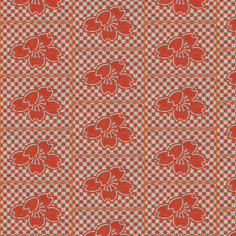 plum blossom quilt - coral red/gray fabric by materialsgirl on Spoonflower - custom fabric