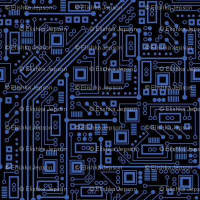 evil robot circuit board black and blue giftwrap robyriker