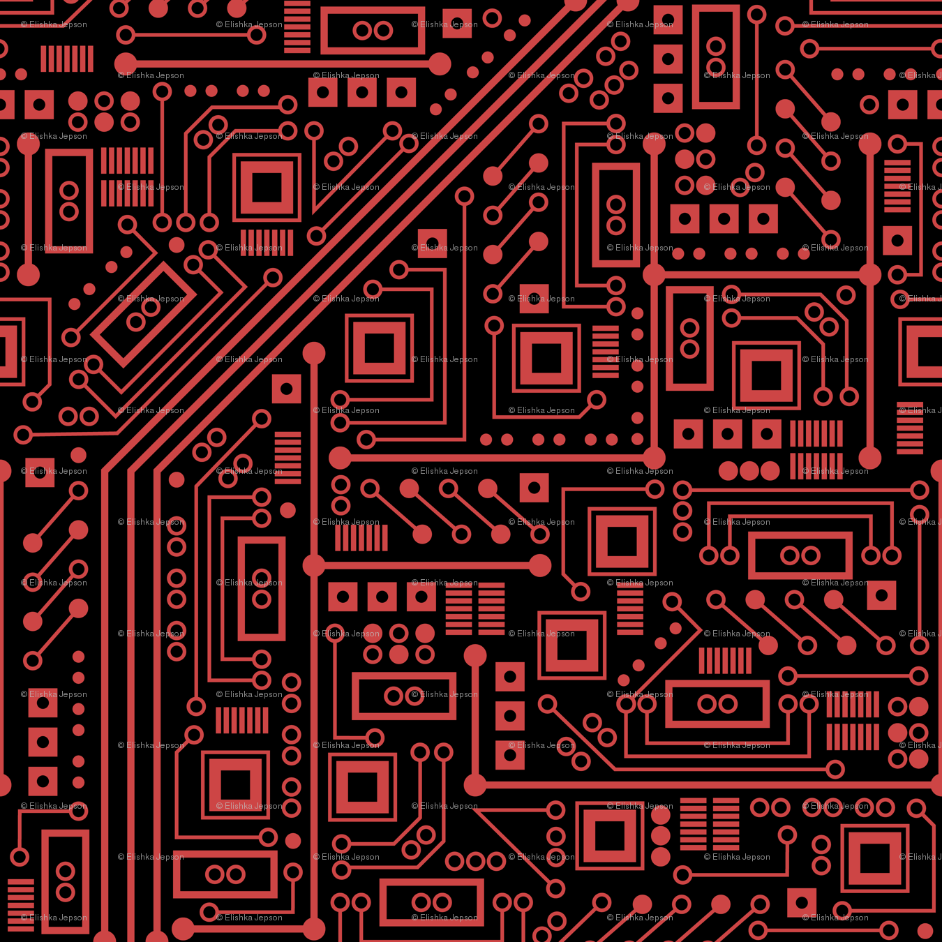 evil robot circuit board black and red fabric robyriker