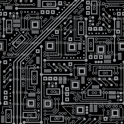 evil robot circuit board black and gray fabric robyriker