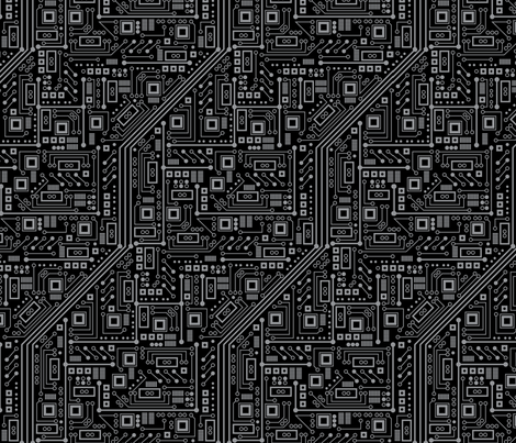 Evil Robot Circuit Board (Black and Gray) fabric by robyriker on Spoonflower - custom fabric
