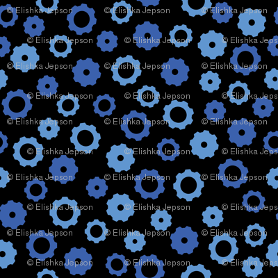 Evil Robot Gears (Black and Blue)