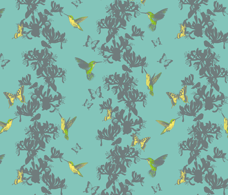 Hummingbird and Butterfly Floral fabric by gail_mcneillie on Spoonflower - custom fabric