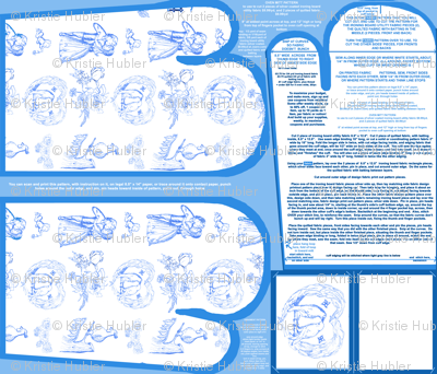 Aqua Blue Toile Oven Mitts Fabric Pattern Fat Quarter With Piece Pattern and Ornament Pattern by Kristie Hubler