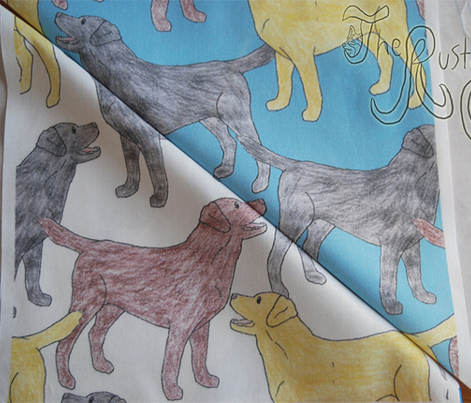 Colorful Labrador sketches - blue