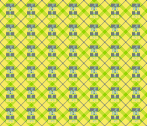 Woofle Bird on Plaid fabric by anniedeb on Spoonflower - custom fabric