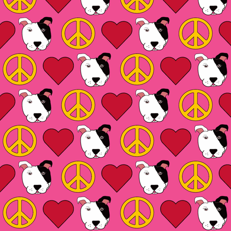 Pink Peace, Love & Pit Bulls  fabric by missyq on Spoonflower - custom fabric