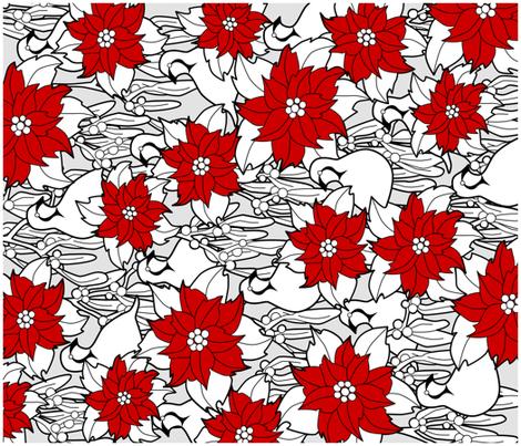 Poinsettia tea towels fabric by elainethebrain on Spoonflower - custom fabric