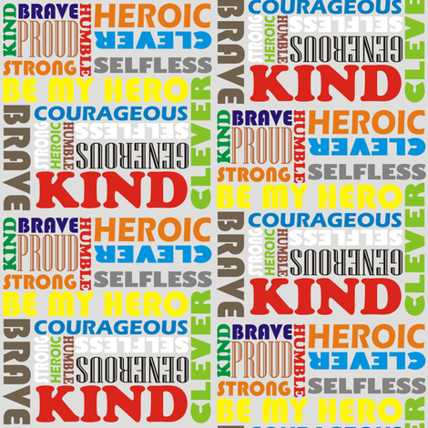Heroic Words Colourful fabric by smuk on Spoonflower - custom fabric