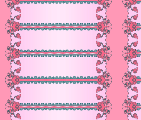 Skull Border Pink fabric by jadegordon on Spoonflower - custom fabric