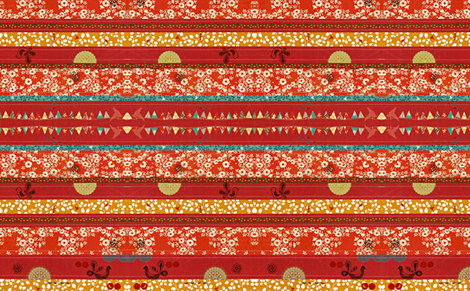 Red stripe_with_bunting_and_birds-ed fabric by madebymeg on Spoonflower - custom fabric