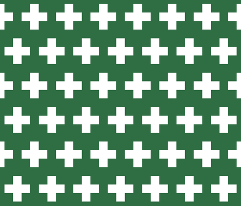 First aid - white cross on green fabric by little_fish on Spoonflower - custom fabric