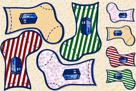 Police Box Christmas Stockings, DIY Holiday Decor fabric by bohobear on Spoonflower - custom fabric