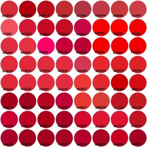 Just Red Color Chart On A Swatch Wallpaper Victorialasher