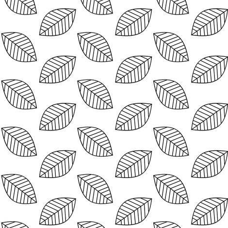 Black and White Leaves fabric by pearl&phire on Spoonflower - custom fabric