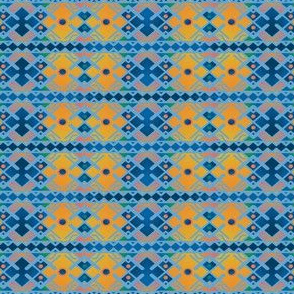 Blue and Gold Traditional Pattern  © Gingezel™ 2013