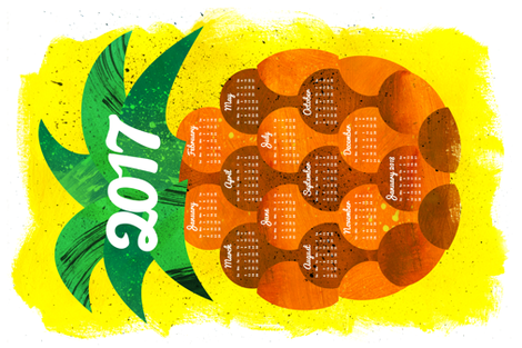 2017 Pineapple Tea Towel Calendar (27x18) fabric by aldea on Spoonflower - custom fabric
