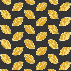 Golden Leaves in Charcoal Background