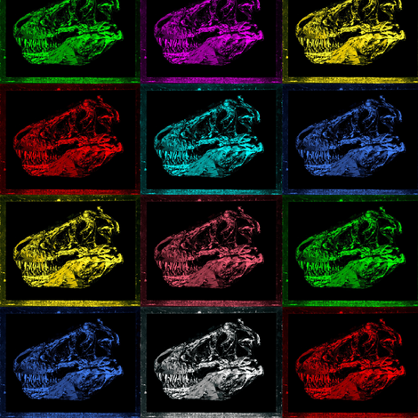Bohemian Dinosaur | Vintage T-Rex Skull Rainbow X Ray fabric by bohobear on Spoonflower - custom fabric