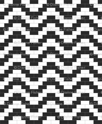 Brick Zigzag - Black and White