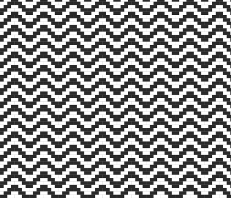 Brick Zigzag - Black and White fabric by little_fish on Spoonflower - custom fabric