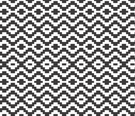 Brick Zigzag and Diamonds - Black and White fabric by little_fish on Spoonflower - custom fabric