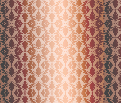 Golden Peach Damask fabric by peacefuldreams on Spoonflower - custom fabric