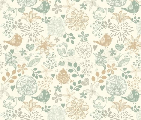 Tender Birds and Flowers fabric by anastasiia-ku on Spoonflower - custom fabric