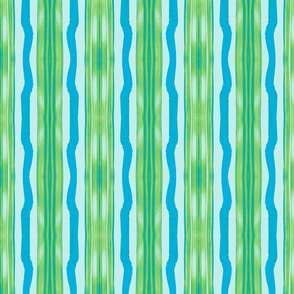 Three Flaxen Stripes, Green & Blue