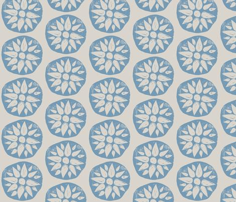 Hand-carved Flowers  fabric by owlandchickadee on Spoonflower - custom fabric
