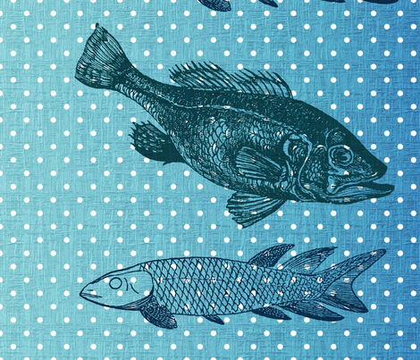 Blue Fish Polka Dots fabric by peacefuldreams on Spoonflower - custom fabric