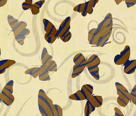 Gold Zebra Print Butterflies fabric by peacefuldreams on Spoonflower - custom fabric
