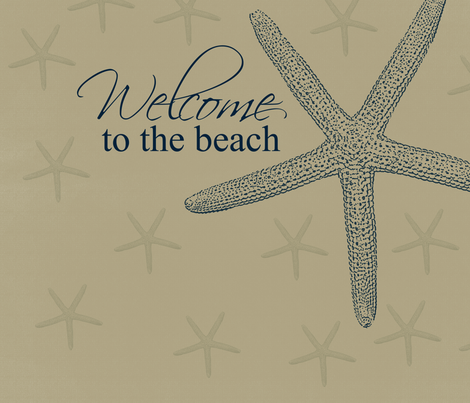 Welcome to the Beach Starfish fabric by peacefuldreams on Spoonflower - custom fabric