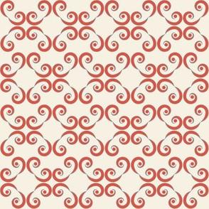 Dotted Swirls in Red-Orange