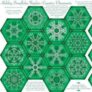 Calligraphic Snowflake napkins in green