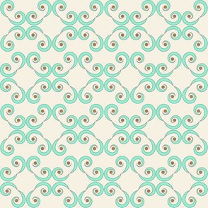 Dotted Swirls in Turquoise or Aqua Blue