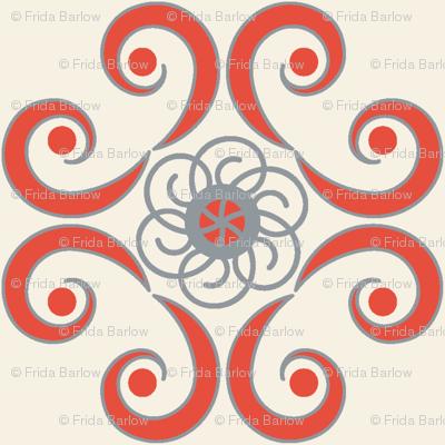 Dimpled Swirls in Red-Orange