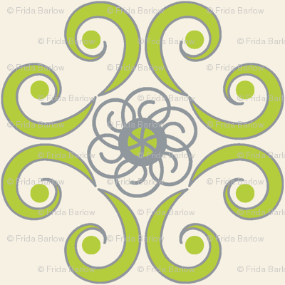 Dimpled Swirls in Chartreuse Green
