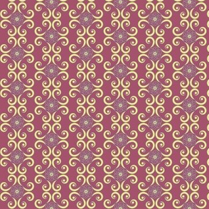 Dimpled Swirls in Yellow and Purple / Plum