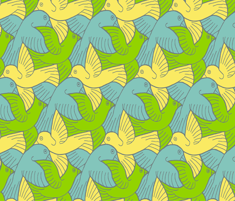 Birds_after_Escher fabric by flying_pigs on Spoonflower - custom fabric