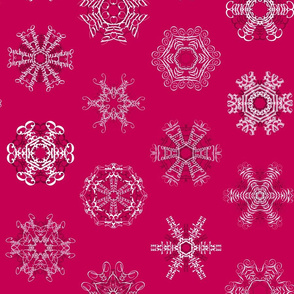 Calligraphic Christmas snowflakes on red