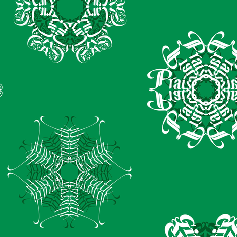 Calligraphic Christmas snowflakes on holly green fabric by weavingmajor on Spoonflower - custom fabric